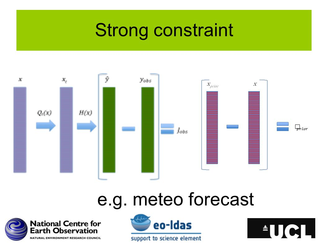 Strong constraint e.g. meteo forecast