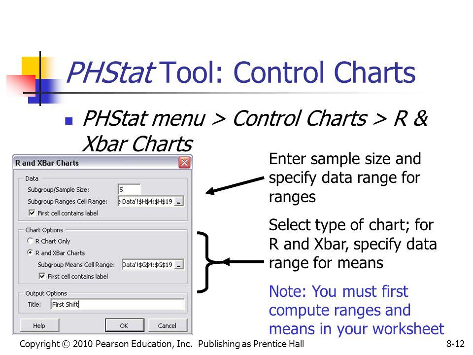 Copyright © 2010 Pearson Education, Inc. Publishing as Prentice Hall8-12 PHStat Tool: Control Charts PHStat menu > Control Charts > R & Xbar Charts En