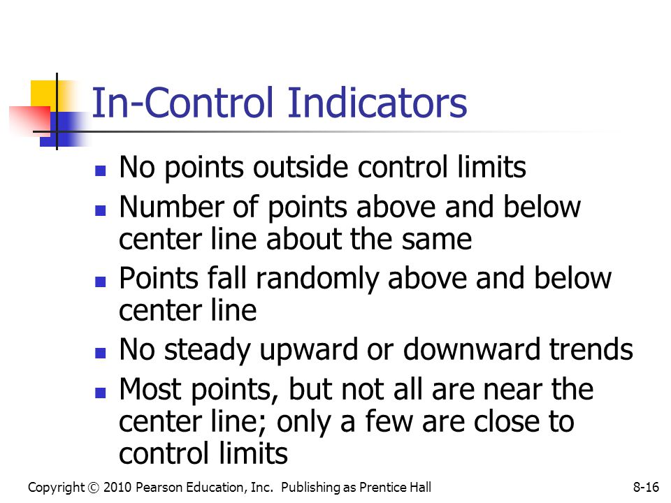 Copyright © 2010 Pearson Education, Inc. Publishing as Prentice Hall8-16 In-Control Indicators No points outside control limits Number of points above