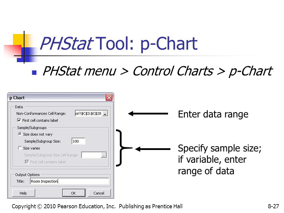 Copyright © 2010 Pearson Education, Inc. Publishing as Prentice Hall8-27 PHStat Tool: p-Chart PHStat menu > Control Charts > p-Chart Enter data range