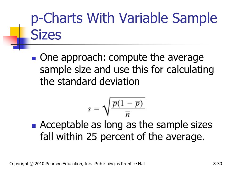 Copyright © 2010 Pearson Education, Inc. Publishing as Prentice Hall8-30 p-Charts With Variable Sample Sizes One approach: compute the average sample
