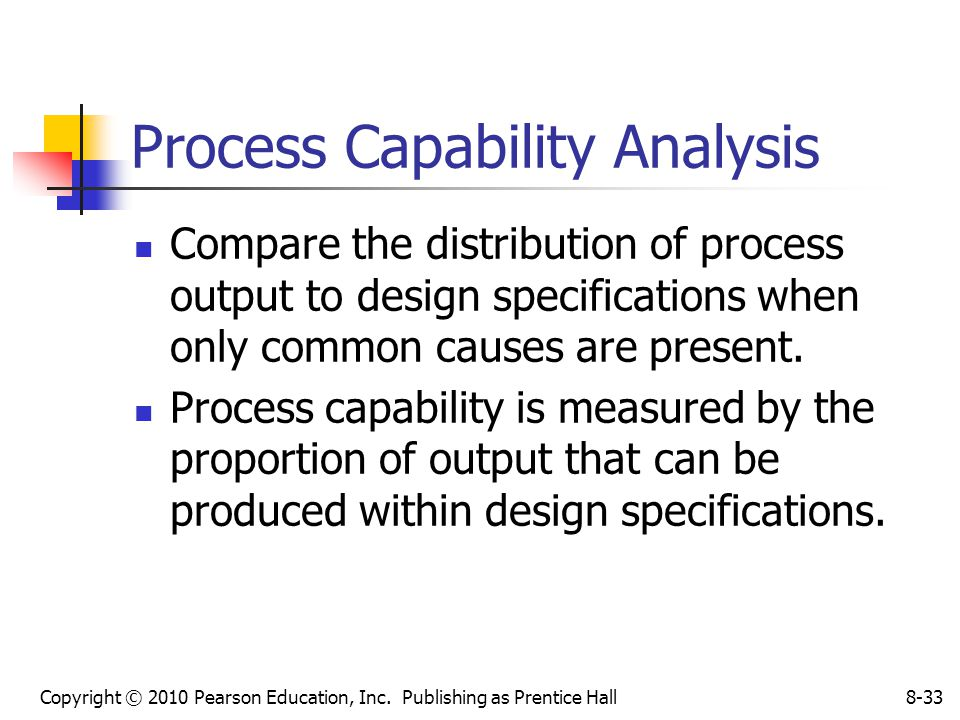 Copyright © 2010 Pearson Education, Inc. Publishing as Prentice Hall8-33 Process Capability Analysis Compare the distribution of process output to des