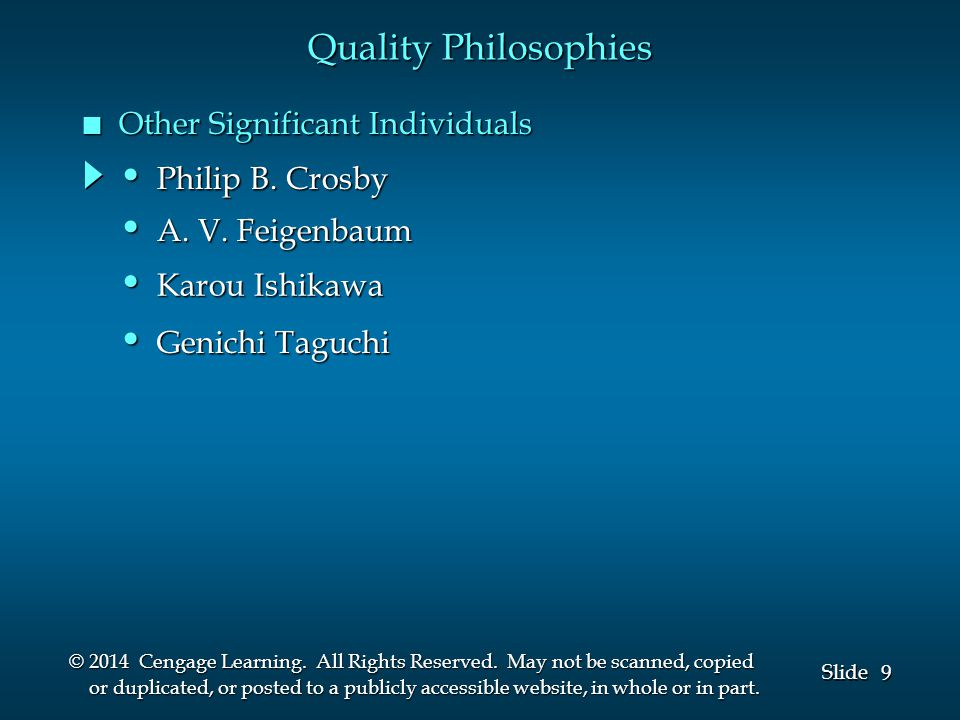 9 9 Slide © 2014 Cengage Learning.All Rights Reserved.