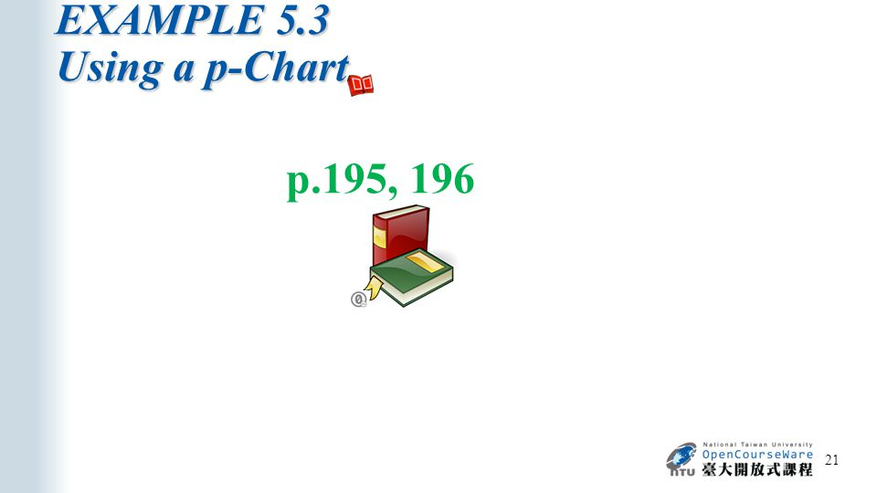 EXAMPLE 5.3 Using a p-Chart 21 p.195, 196