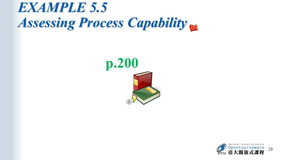 EXAMPLE 5.5 Assessing Process Capability 29 p.200