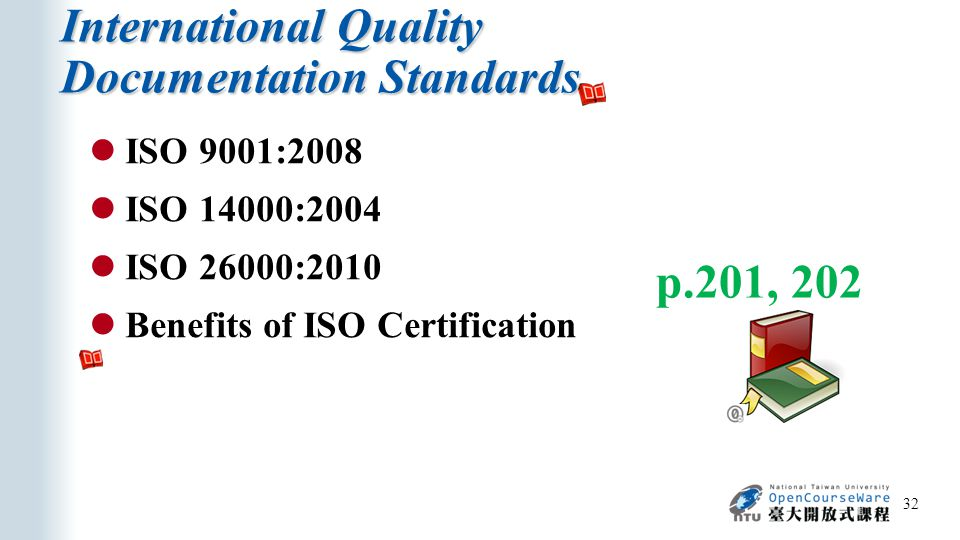 International Quality Documentation Standards 32 ISO 9001:2008 ISO 14000:2004 ISO 26000:2010 Benefits of ISO Certification p.201, 202