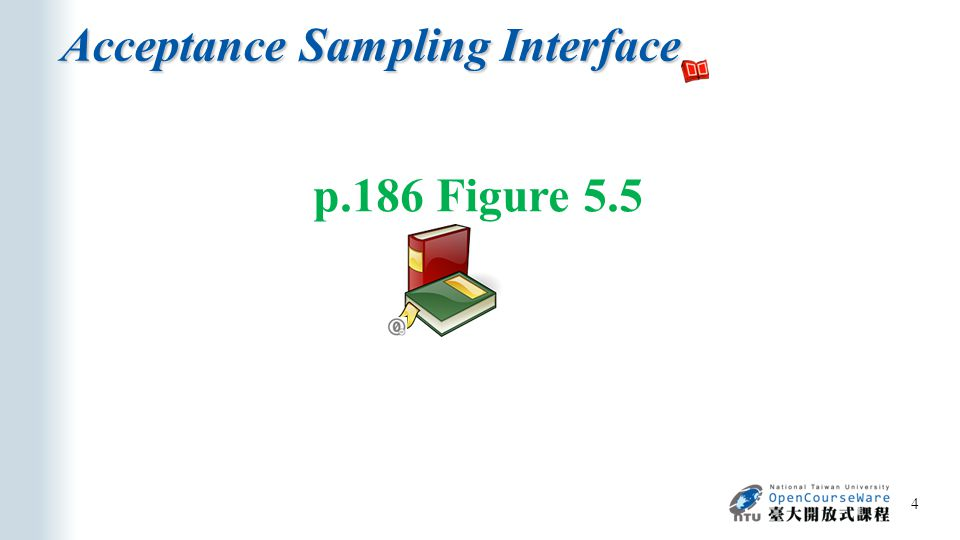 Acceptance Sampling Interface 4 p.186 Figure 5.5