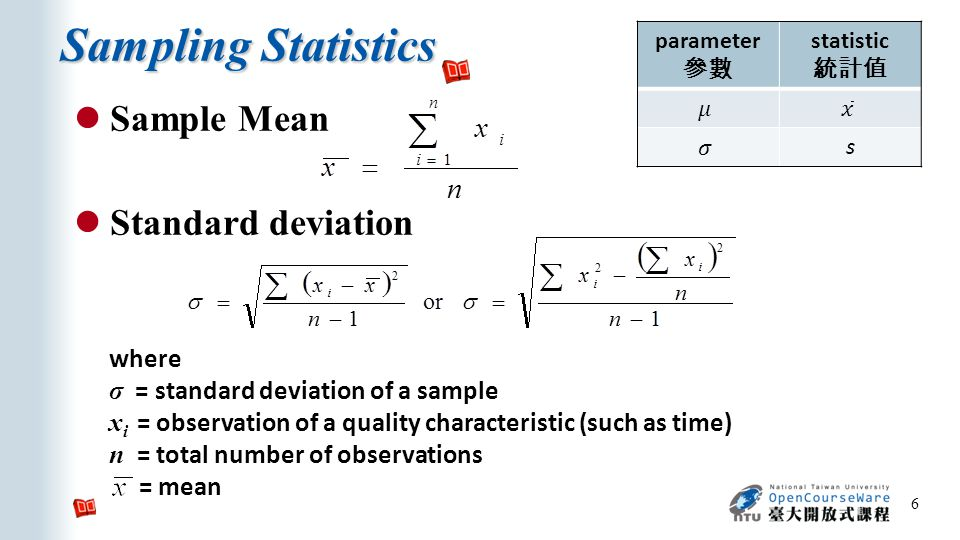 Sampling Statistics 6 Sample Mean Standard deviation where σ = standard deviation of a sample x i = observation of a quality characteristic (such as time) n = total number of observations = mean parameter 參數 statistic 統計值 s