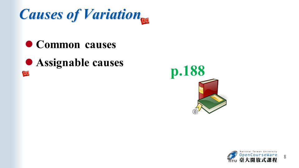 Causes of Variation 8 p.188 Common causes Assignable causes