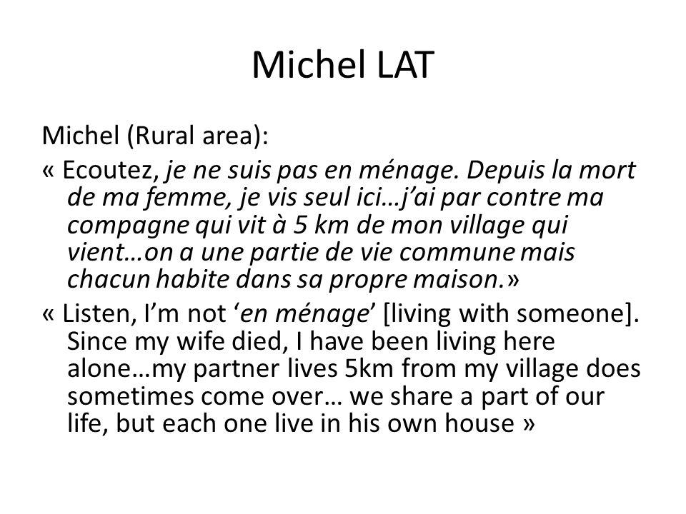 Michel LAT Michel (Rural area): « Ecoutez, je ne suis pas en ménage. Depuis la mort de ma femme, je vis seul ici…j'ai par contre ma compagne qui vit à