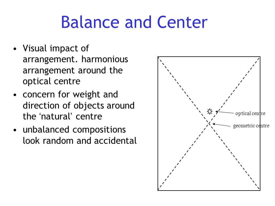 Balance and Center Visual impact of arrangement. harmonious arrangement around the optical centre concern for weight and direction of objects around t