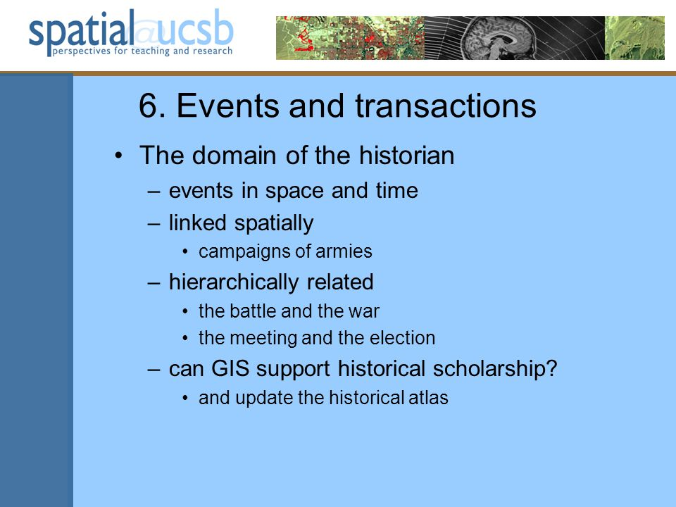 6. Events and transactions The domain of the historian –events in space and time –linked spatially campaigns of armies –hierarchically related the bat