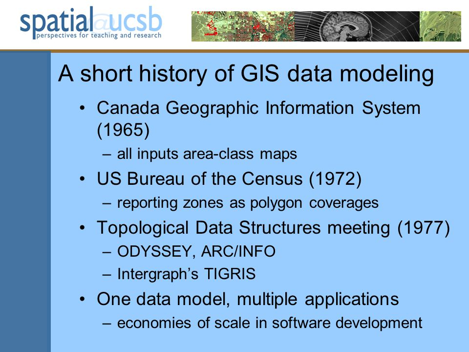 A short history of GIS data modeling Canada Geographic Information System (1965) –all inputs area-class maps US Bureau of the Census (1972) –reporting