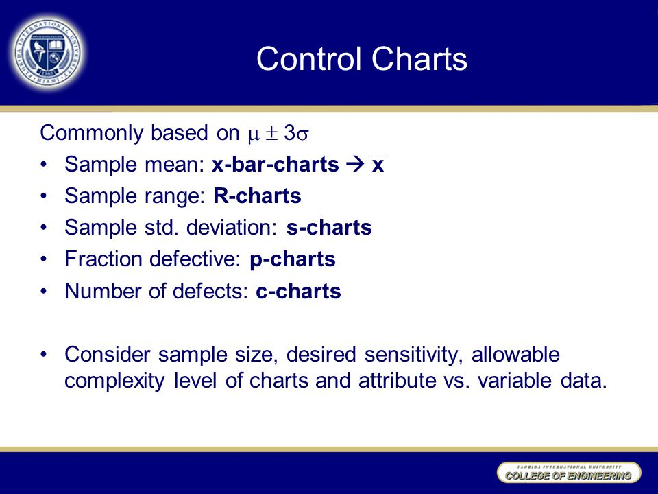 Control Charts Commonly based on   3  Sample mean: x-bar-charts  x Sample range: R-charts Sample std.