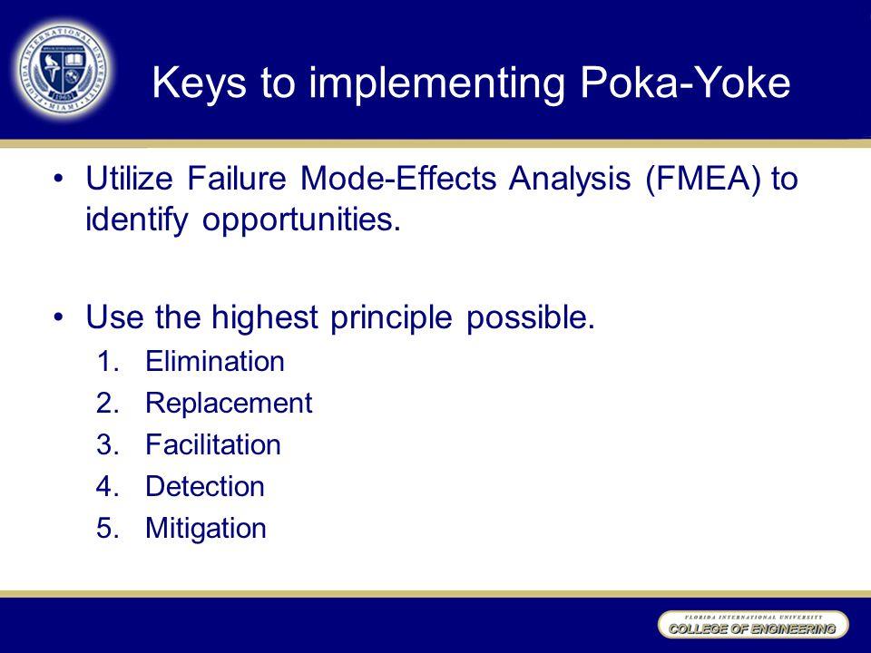 Keys to implementing Poka-Yoke Utilize Failure Mode-Effects Analysis (FMEA) to identify opportunities.