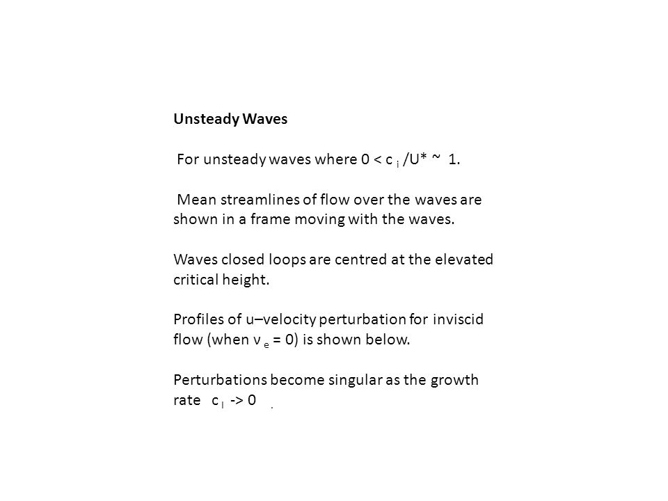 Unsteady Waves For unsteady waves where 0 < c i /U* ~ 1.