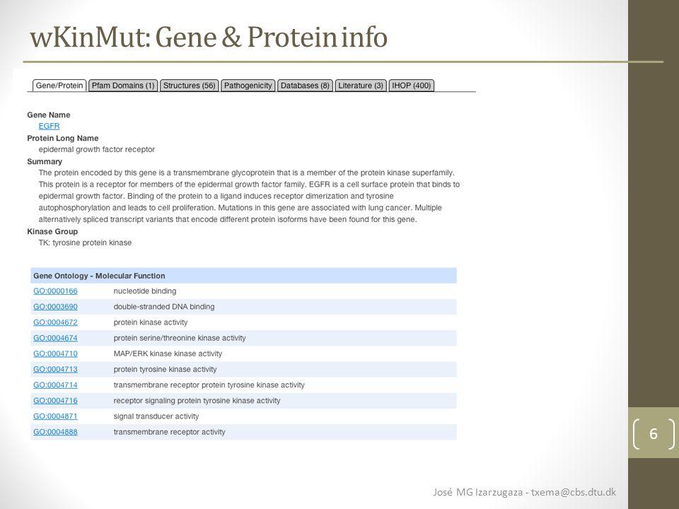 6 wKinMut: Gene & Protein info José MG Izarzugaza - txema@cbs.dtu.dk