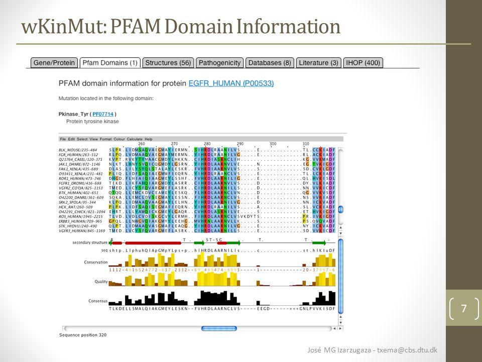 7 wKinMut: PFAM Domain Information José MG Izarzugaza - txema@cbs.dtu.dk