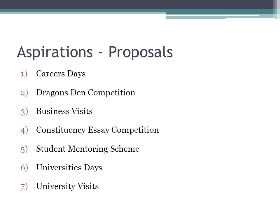 Aspirations - Proposals 1)Careers Days 2)Dragons Den Competition 3)Business Visits 4)Constituency Essay Competition 5)Student Mentoring Scheme 6)Unive