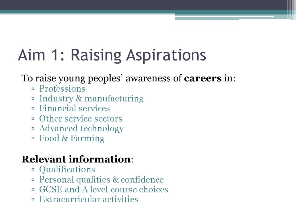 Aim 1: Raising Aspirations To raise young peoples' awareness of careers in: ▫Professions ▫Industry & manufacturing ▫Financial services ▫Other service sectors ▫Advanced technology ▫Food & Farming Relevant information: ▫Qualifications ▫Personal qualities & confidence ▫GCSE and A level course choices ▫Extracurricular activities