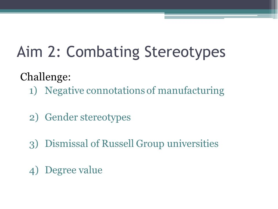 Aim 2: Combating Stereotypes Manufacturing is wrongly seen as a low-skill, dirty occupation