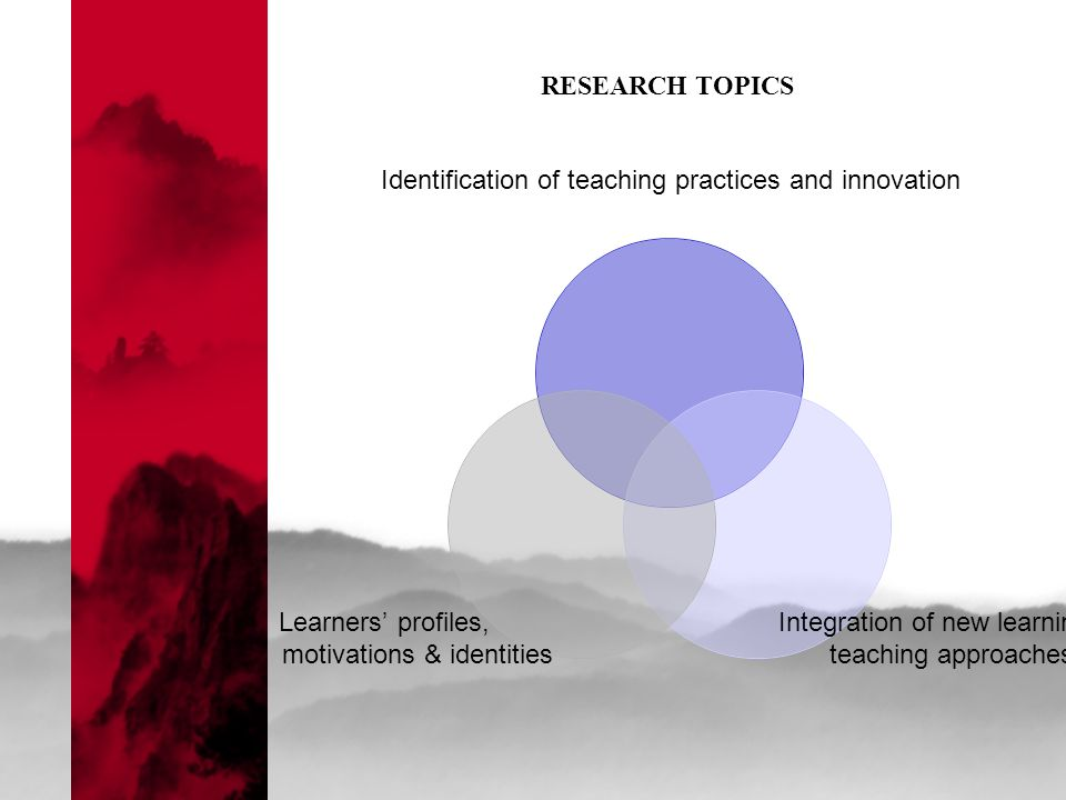 Identification of teaching practices and innovation Integration of new learning & teaching approaches Learners' profiles, motivations & identities RESEARCH TOPICS