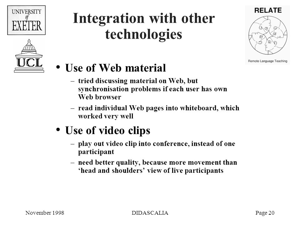 November 1998DIDASCALIAPage 20 Integration with other technologies Use of Web material –tried discussing material on Web, but synchronisation problems if each user has own Web browser –read individual Web pages into whiteboard, which worked very well Use of video clips –play out video clip into conference, instead of one participant –need better quality, because more movement than 'head and shoulders' view of live participants