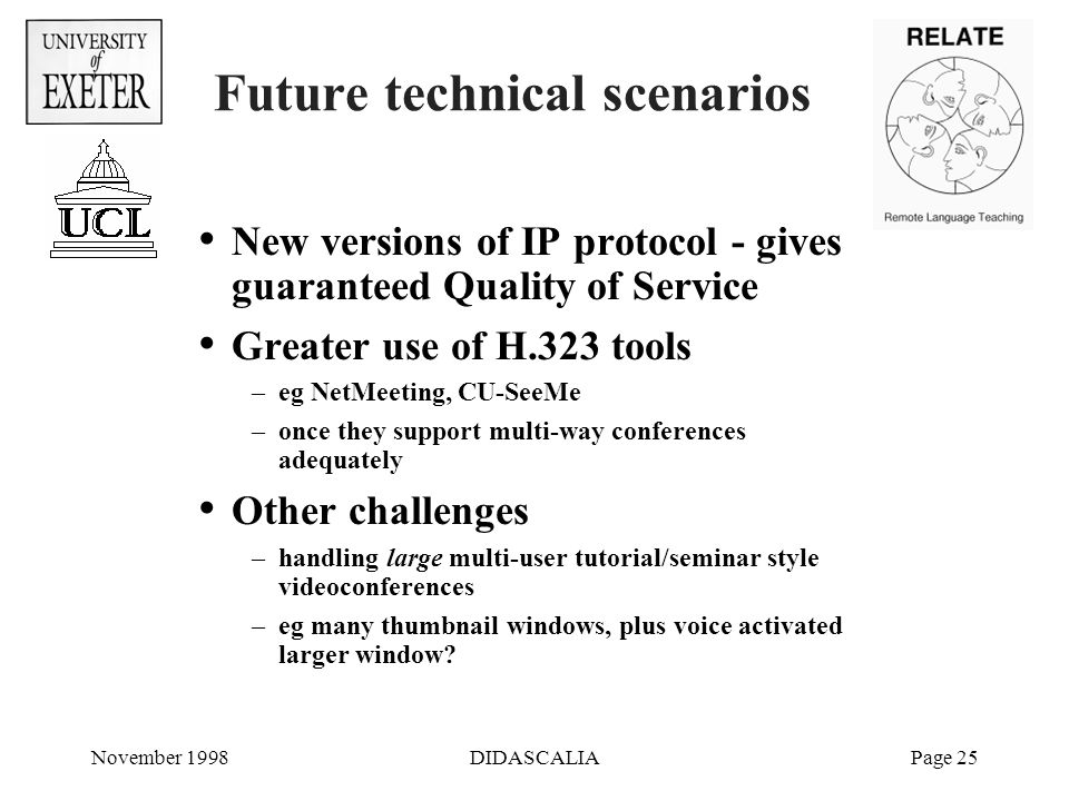 November 1998DIDASCALIAPage 25 Future technical scenarios New versions of IP protocol - gives guaranteed Quality of Service Greater use of H.323 tools –eg NetMeeting, CU-SeeMe –once they support multi-way conferences adequately Other challenges –handling large multi-user tutorial/seminar style videoconferences –eg many thumbnail windows, plus voice activated larger window