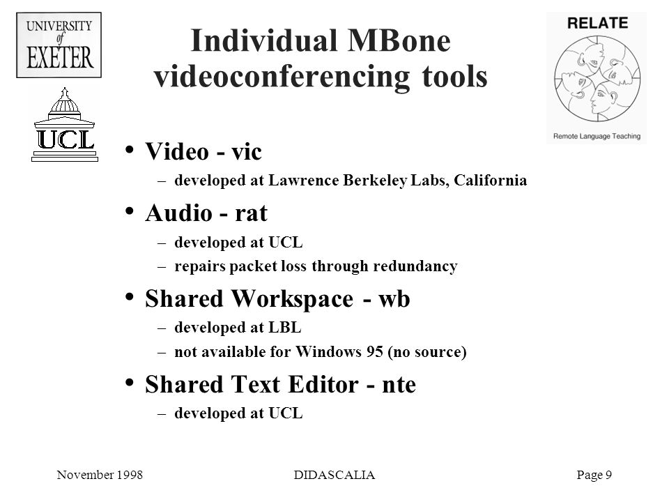 November 1998DIDASCALIAPage 9 Individual MBone videoconferencing tools Video - vic –developed at Lawrence Berkeley Labs, California Audio - rat –developed at UCL –repairs packet loss through redundancy Shared Workspace - wb –developed at LBL –not available for Windows 95 (no source) Shared Text Editor - nte –developed at UCL