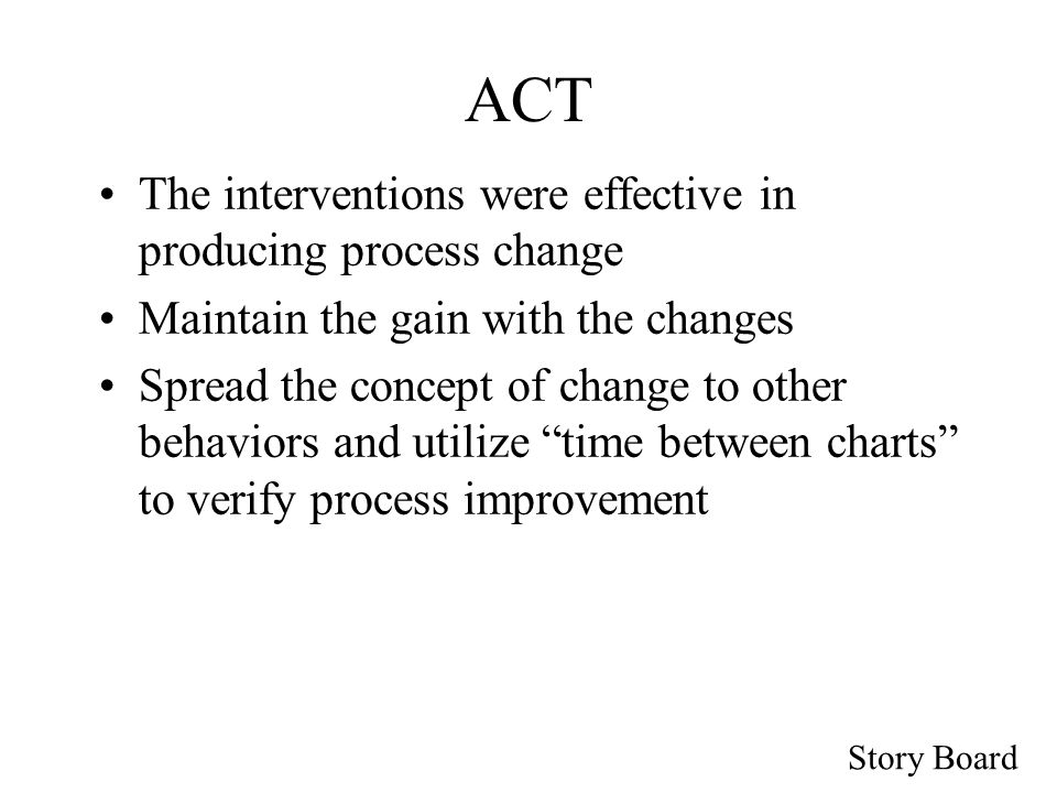 Story Board ACT The interventions were effective in producing process change Maintain the gain with the changes Spread the concept of change to other behaviors and utilize time between charts to verify process improvement