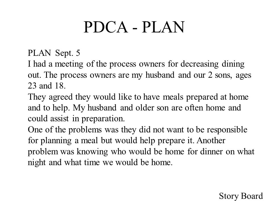 Story Board PDCA - PLAN The planned interventions are: 1.