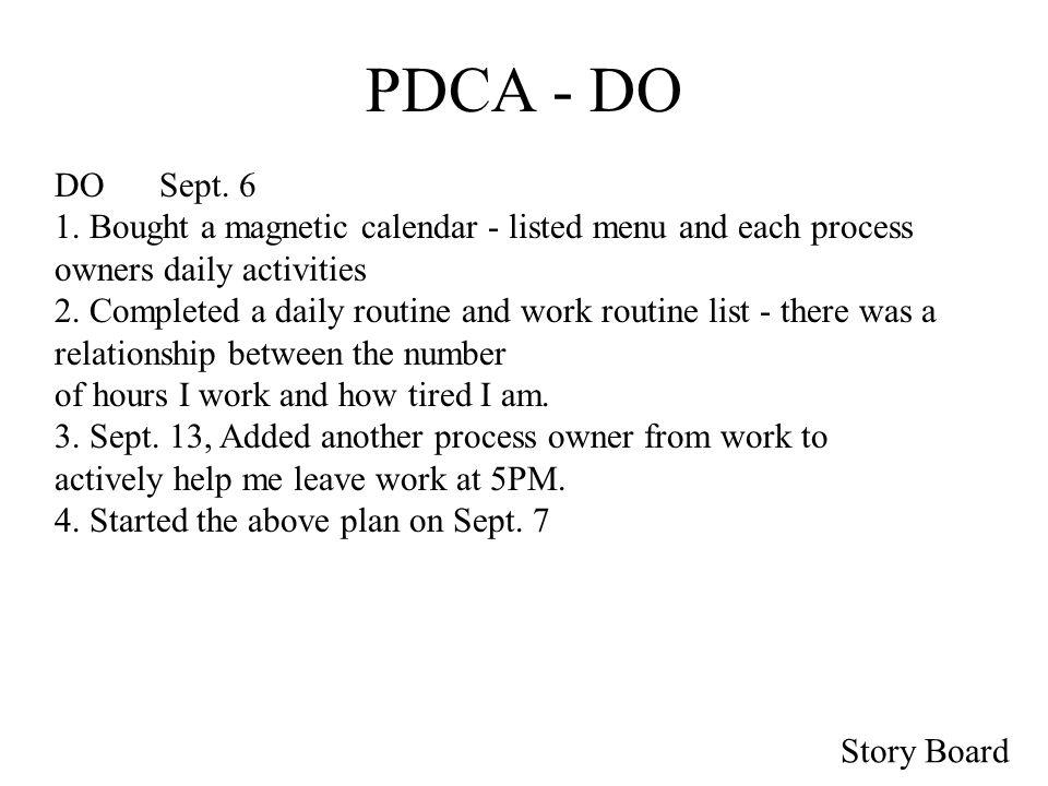 Story Board PDCA - DO DOSept. 6 1.
