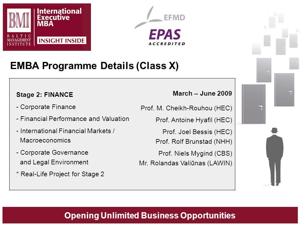 Opening Unlimited Business Opportunities Stage 2: FINANCE - Corporate Finance - Financial Performance and Valuation - International Financial Markets