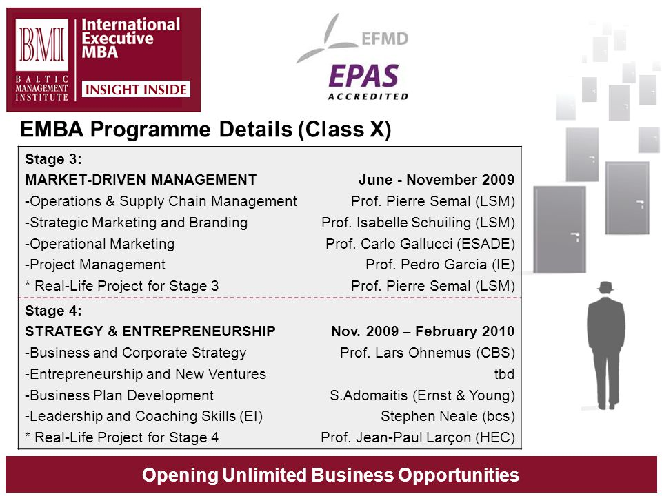 Opening Unlimited Business Opportunities Stage 3: MARKET-DRIVEN MANAGEMENT -Operations & Supply Chain Management -Strategic Marketing and Branding -Operational Marketing -Project Management * Real-Life Project for Stage 3 June - November 2009 Prof.