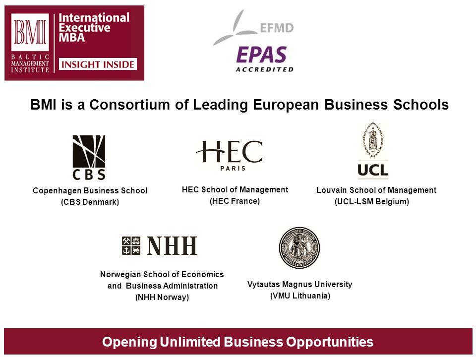 Opening Unlimited Business Opportunities BMI is a Consortium of Leading European Business Schools Copenhagen Business School (CBS Denmark) HEC School