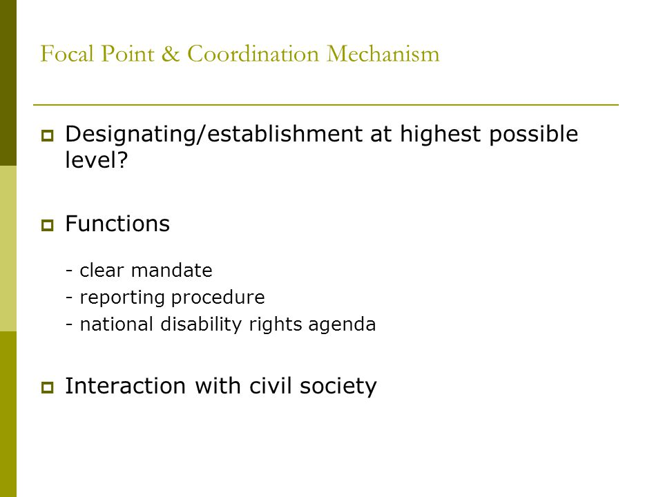 Focal Point & Coordination Mechanism  Designating/establishment at highest possible level.