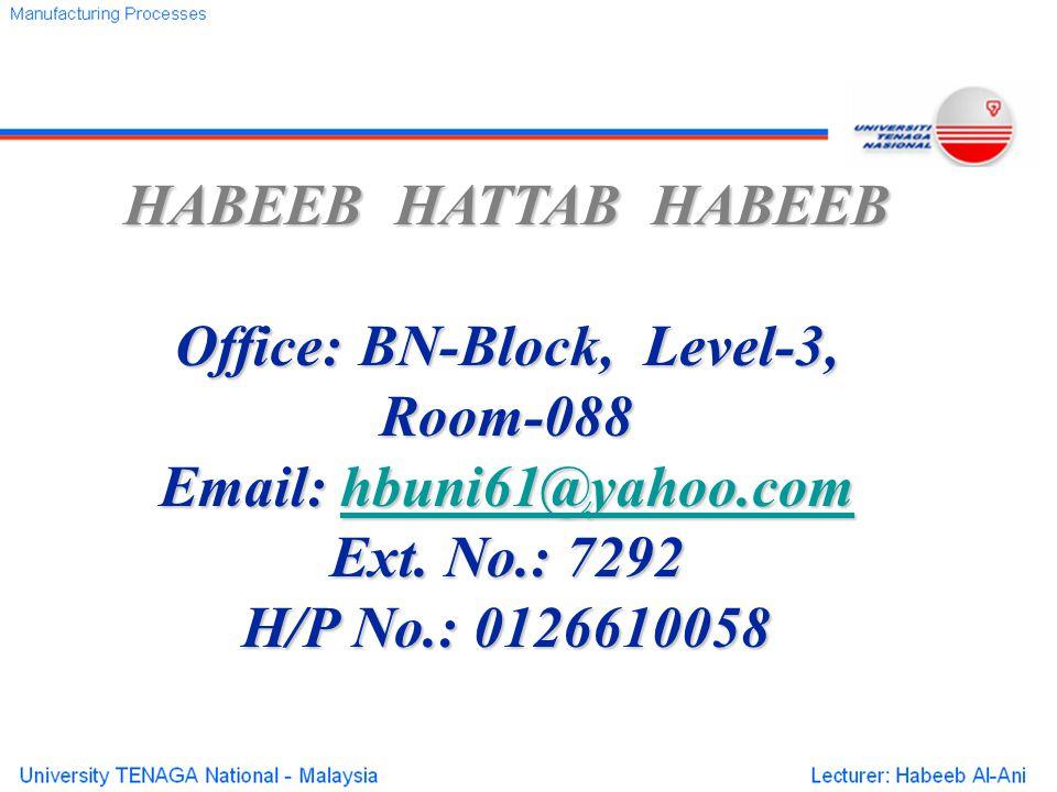 HABEEB HATTAB HABEEB Office: BN-Block, Level-3, Room-088 Email: hbuni61@yahoo.com hbuni61@yahoo.com Ext. No.: 7292 H/P No.: 0126610058