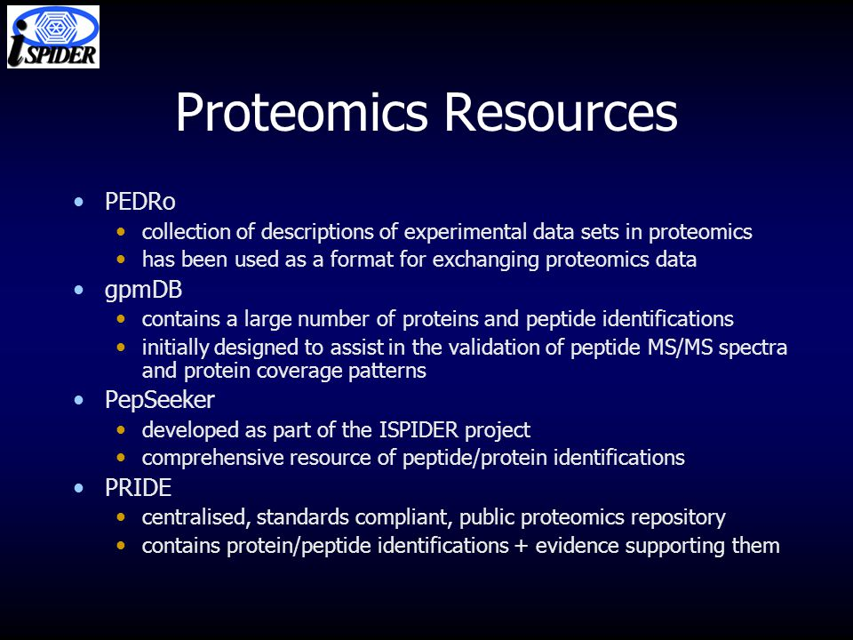 Proteomics Resources PEDRo collection of descriptions of experimental data sets in proteomics has been used as a format for exchanging proteomics data gpmDB contains a large number of proteins and peptide identifications initially designed to assist in the validation of peptide MS/MS spectra and protein coverage patterns PepSeeker developed as part of the ISPIDER project comprehensive resource of peptide/protein identifications PRIDE centralised, standards compliant, public proteomics repository contains protein/peptide identifications + evidence supporting them