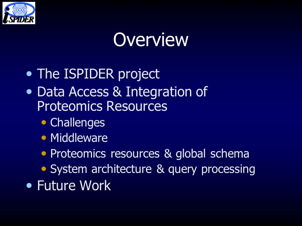 Overview The ISPIDER project Data Access & Integration of Proteomics Resources Challenges Middleware Proteomics resources & global schema System architecture & query processing Future Work