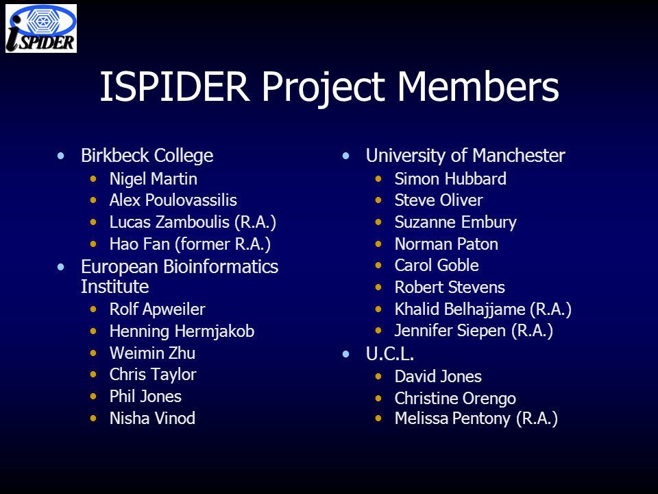 ISPIDER Project Members Birkbeck College Nigel Martin Alex Poulovassilis Lucas Zamboulis (R.A.) Hao Fan (former R.A.) European Bioinformatics Institut