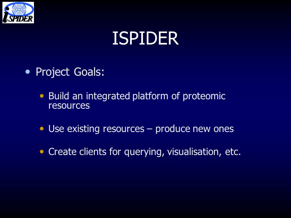 ISPIDER Project Goals: Build an integrated platform of proteomic resources Use existing resources – produce new ones Create clients for querying, visualisation, etc.