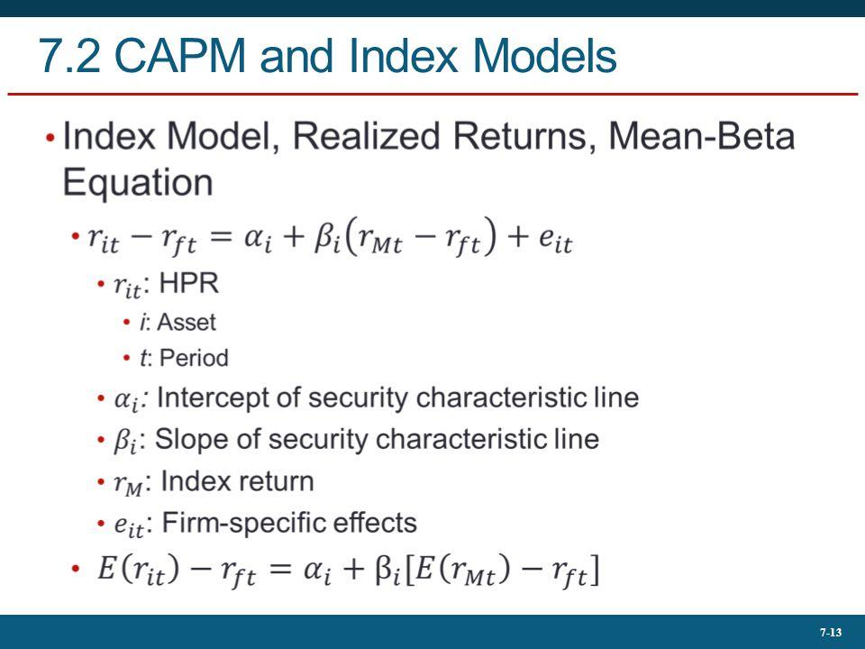 7-13 7.2 CAPM and Index Models