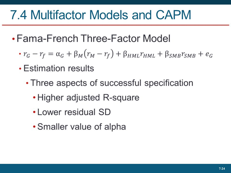 7-24 7.4 Multifactor Models and CAPM