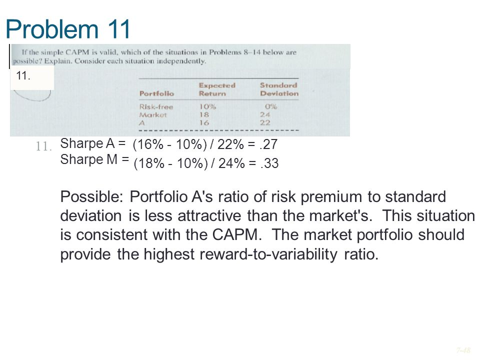 Problem 11 11. Sharpe A = Sharpe M = Possible: Portfolio A's ratio of risk premium to standard deviation is less attractive than the market's. This si