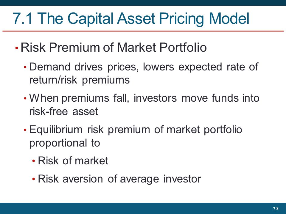 7-8 7.1 The Capital Asset Pricing Model Risk Premium of Market Portfolio Demand drives prices, lowers expected rate of return/risk premiums When premi