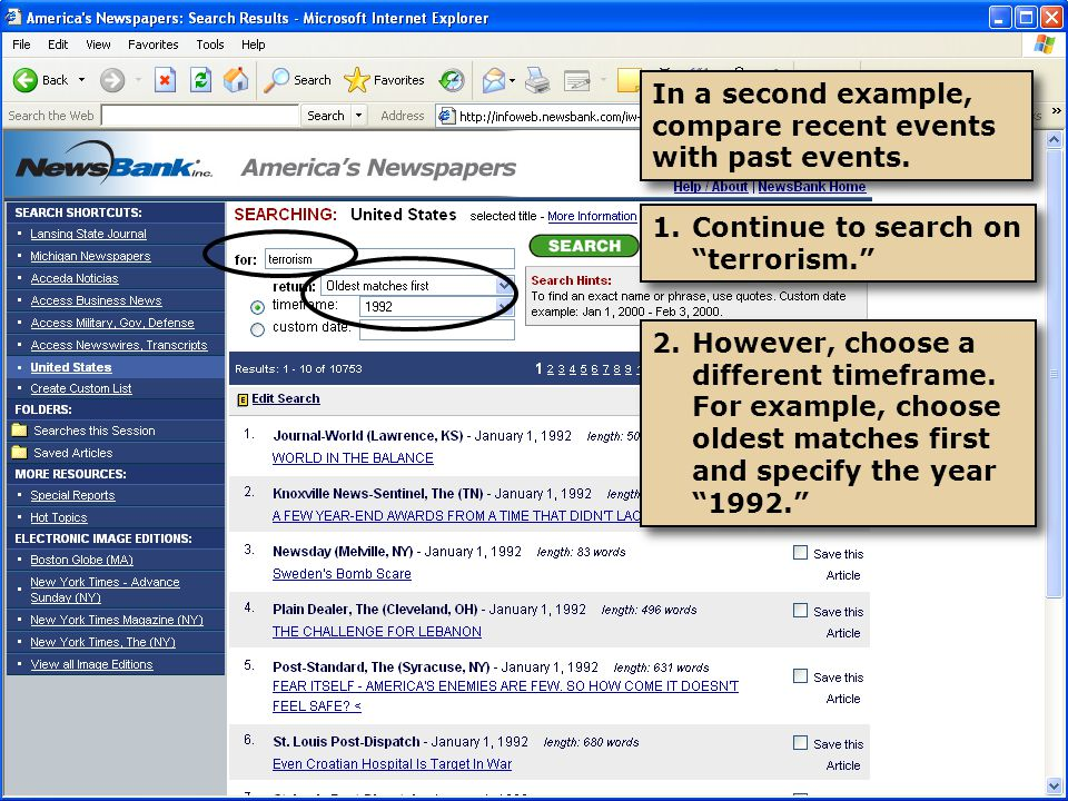 In a second example, compare recent events with past events.