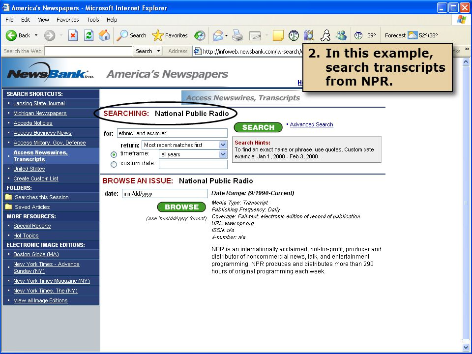 2.In this example, search transcripts from NPR.