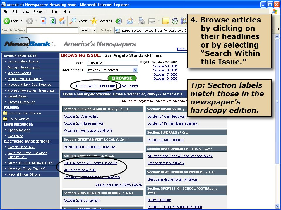"""4. Browse articles by clicking on their headlines or by selecting """"Search Within this Issue."""" Tip: Section labels match those in the newspaper's hardc"""