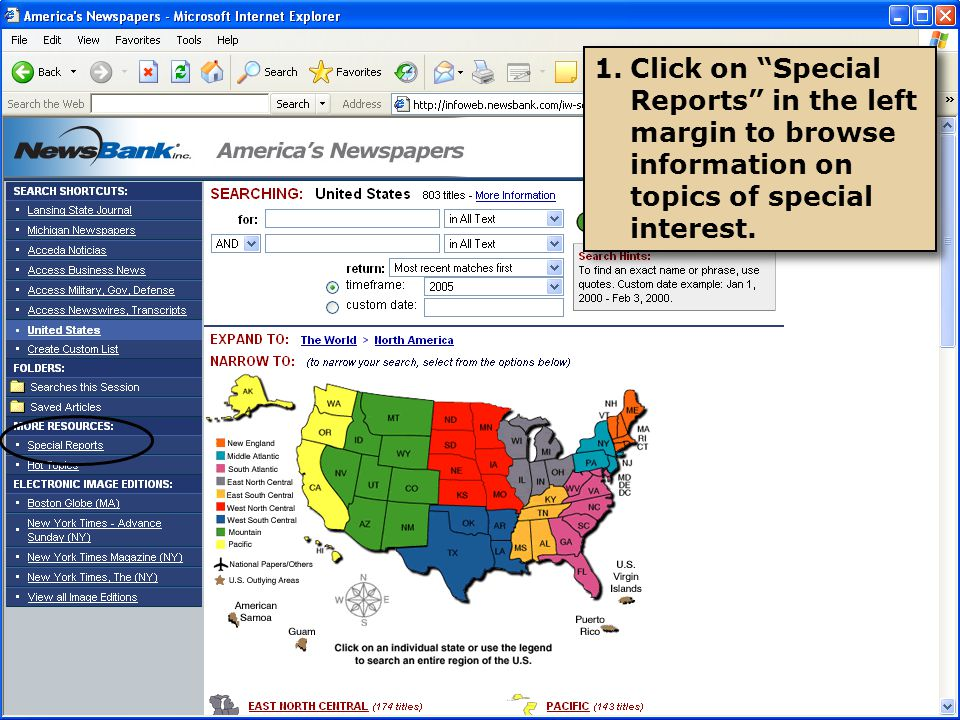 1.Click on Special Reports in the left margin to browse information on topics of special interest.