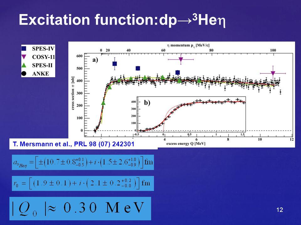 12 Excitation function:dp→ 3 He   2 /n free =0.82 T. Mersmann et al., PRL 98 (07) 242301